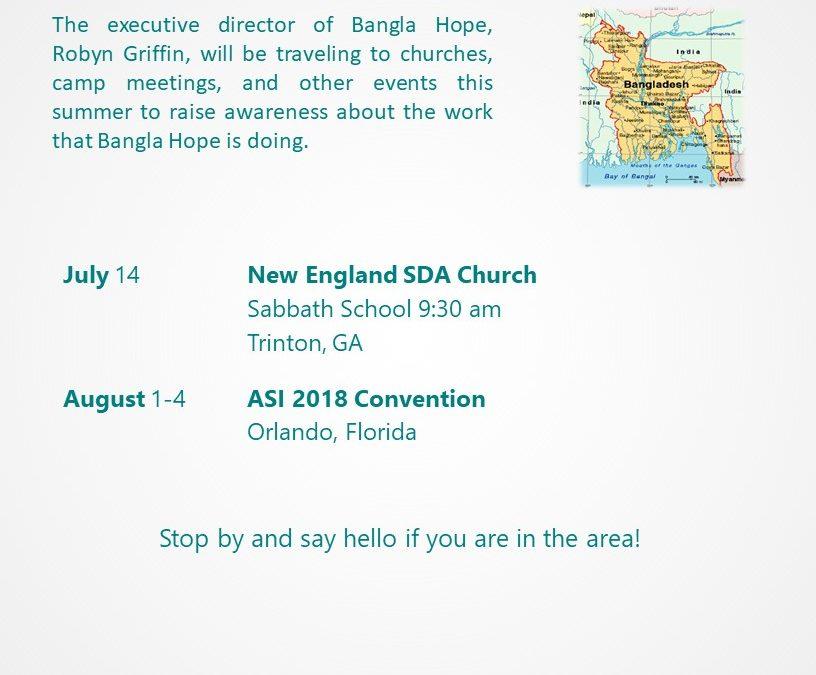 Summer 2018 Travel & Event Schedule